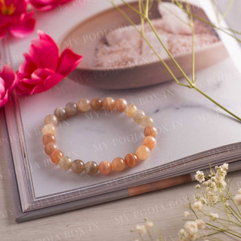 Peach Moonstone Bracelet⎮Strengthens Sixth Sense