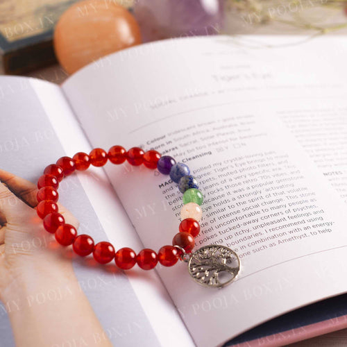 Carnelian Bracelet with Tree of Life Charm