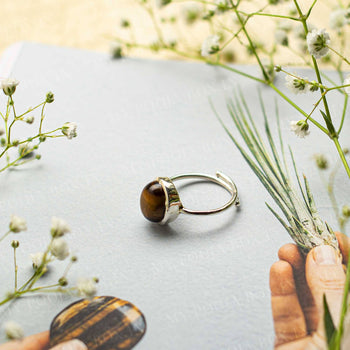 Tiger Eye Silver Adjustable Crystal Ring