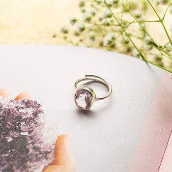 Amethyst Silver Adjustable Crystal Ring