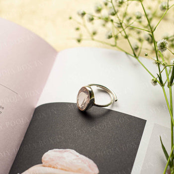 Rose Quartz Silver Adjustable Crystal Ring