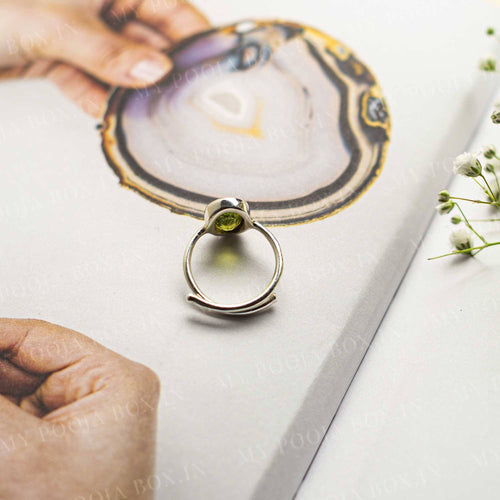 Peridot Silver Adjustable Crystal Ring