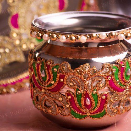 Colorful Beaded Karwa Chauth Thali Set