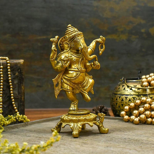 Brass Dancing Ganesha Idol/Murti