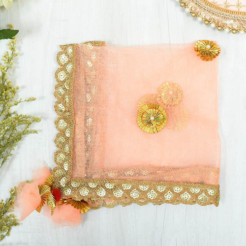 Ravishing Peach & Golden Thali Cover