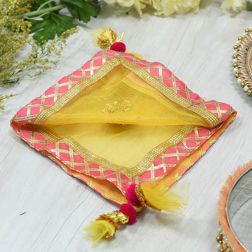 Dazzling Yellow and Pink Thali Cover