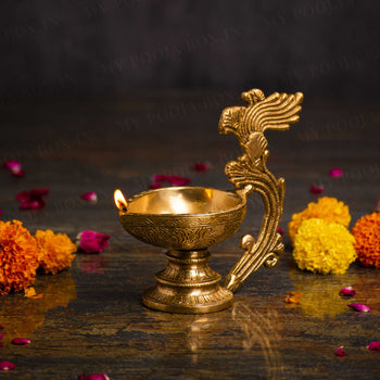 Antique Brass Peacock Diya