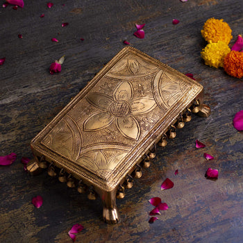 Handcrafted Rectangular Brass Pooja Chowki