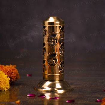 Antique Brass Swastik Dhoop Stand