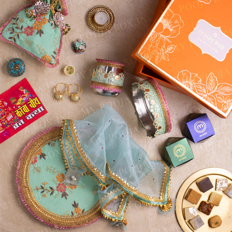 Mint Petunia Gift Box for Karwa Chauth