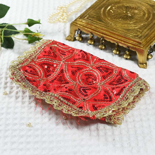 Red Chowki Cover With Red And Golden Sequence Beads