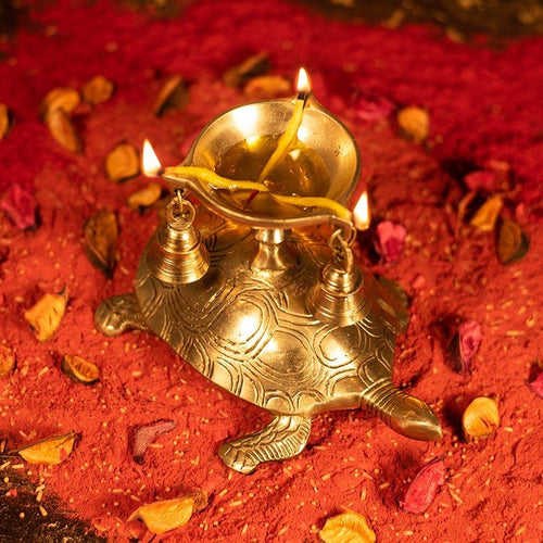 Antique Brass Tortoise Diya with Bells