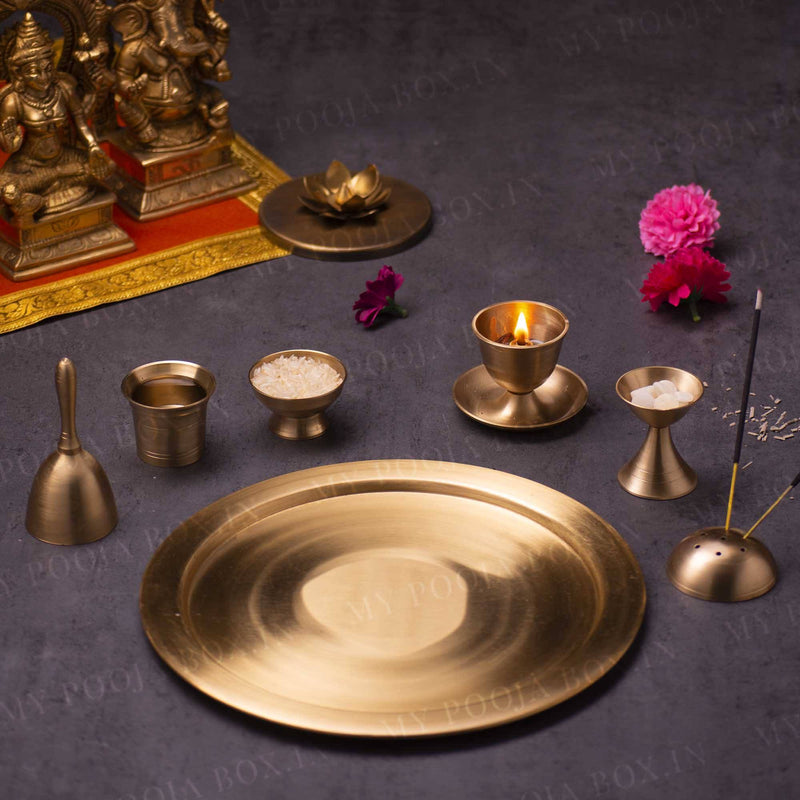 Antique Brass Pooja Thali (Set of 7)