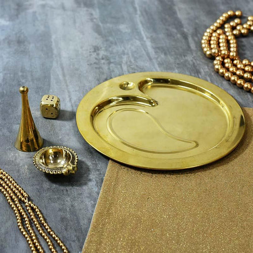 Traditional Brass Om Pooja Thali (Set Of 4)