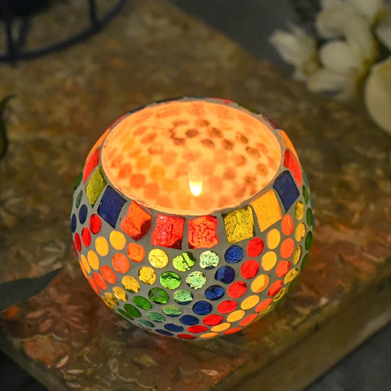 Gorgeous Handcrafted Colorful Mosaic T-light Holder