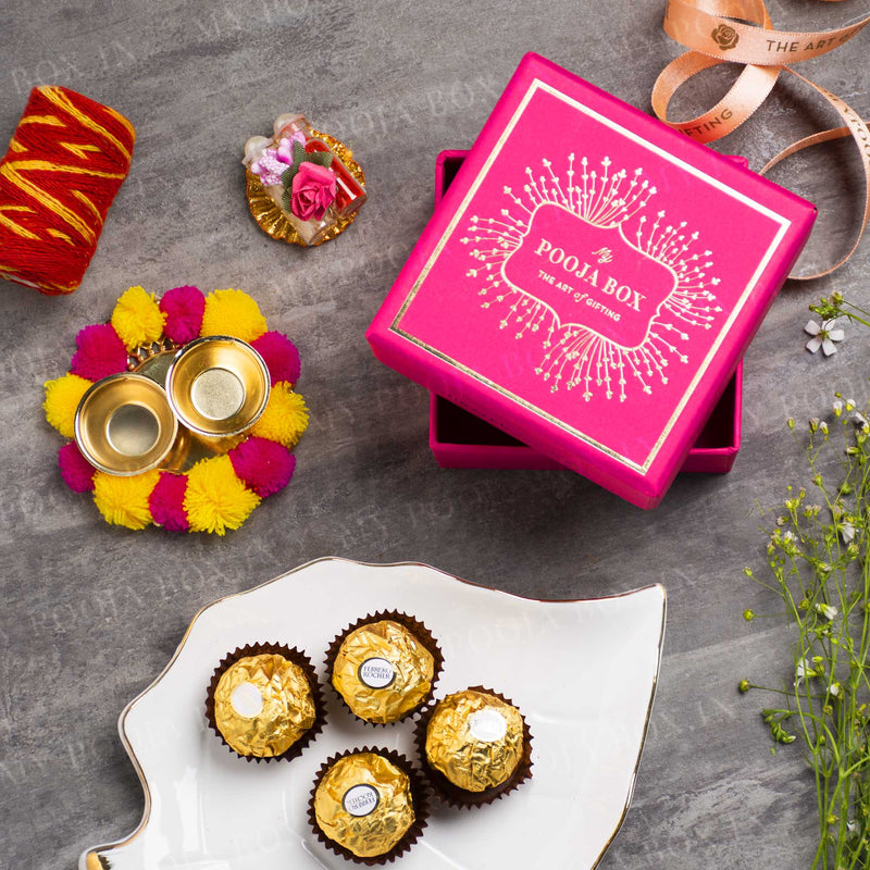 Pink Bhai Dooj Petite Box with Ferrero Rocher Chocolate