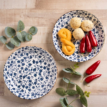 Handmade Printed Leafy Quarter Plates (Set of 2)