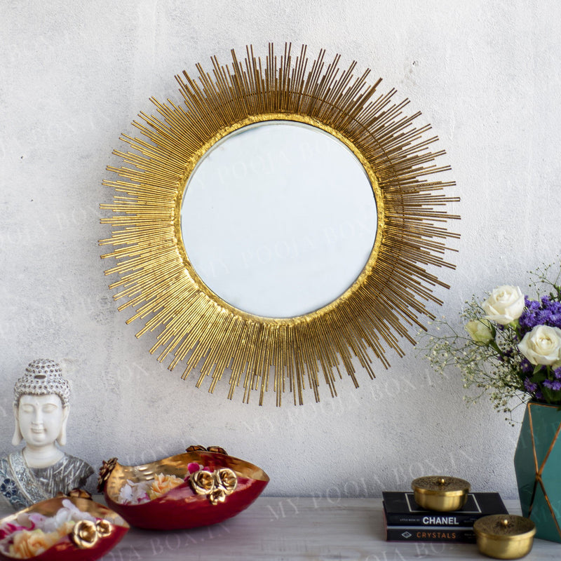 Vintage Sunburst Wall Decor Mirror