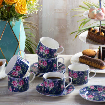 Floral Delights Tea Cups with Saucer (Set of 6)