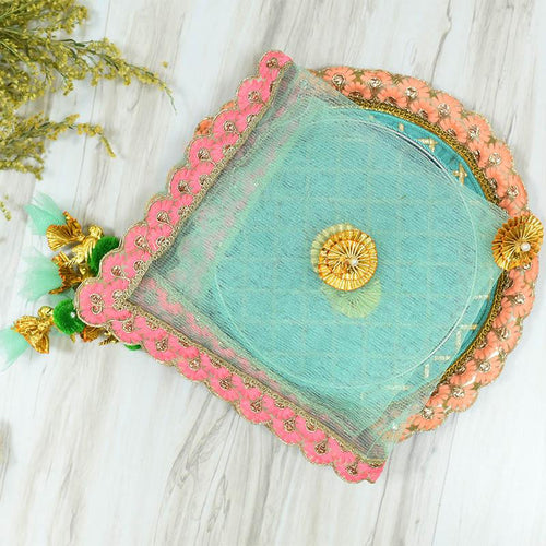 Mint & Pink Thali Cover