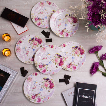 Floral Blush Quarter Plates (Set of 6)