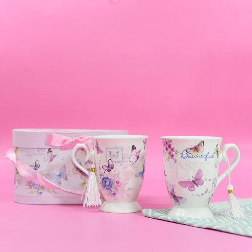 Butterfly Theme Vintage Tea Cups (Set of 2)