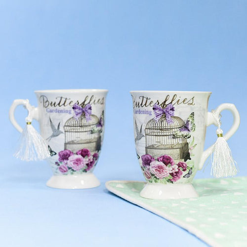 Violet Cage Theme Vintage Tea Cups (Set of 2)