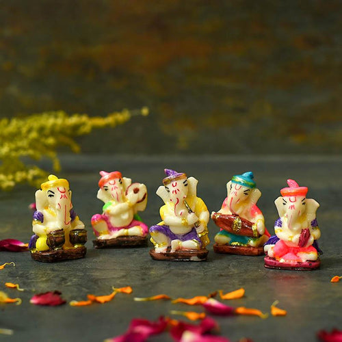 Cute Instrumental Ganesha Showpiece Set of 5