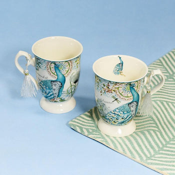 Peacock Design Vintage Tea Cups (Set of 2)