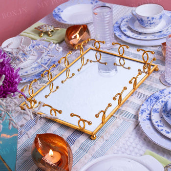 Gold Mirrored Tabletop Tray (Set of 2)