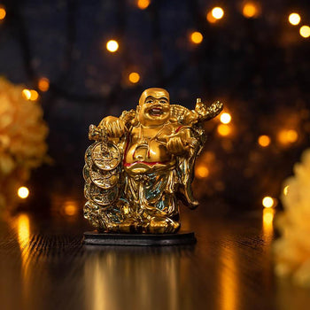 Feng Shui Golden Laughing Buddha with Staff and String of Coins for Wealth