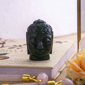 Green Aventurine Natural Crystal Buddha Head