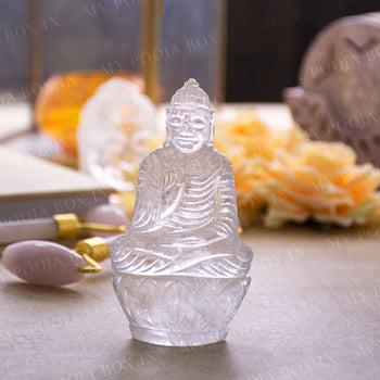 Clear Quartz Natural Healing Buddha Statue