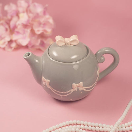 Pink & Grey Bow Tea Pot