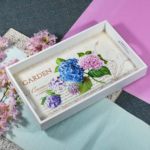 Floral Wooden Serving Tray Set Of 3