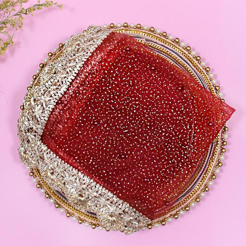 Vibrant Red Beaded Thali Cover