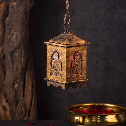 Handcrafted Antique Wooden Buddha Lantern