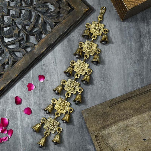 Antique Brass 13 Bell Wall Hanging With Laxmi Figurine