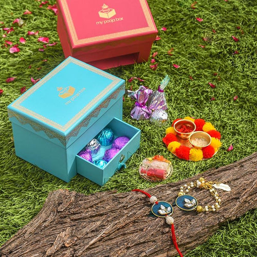 Bejewelled Peacock Blue Bhaiya Bhabi Rakhi Box