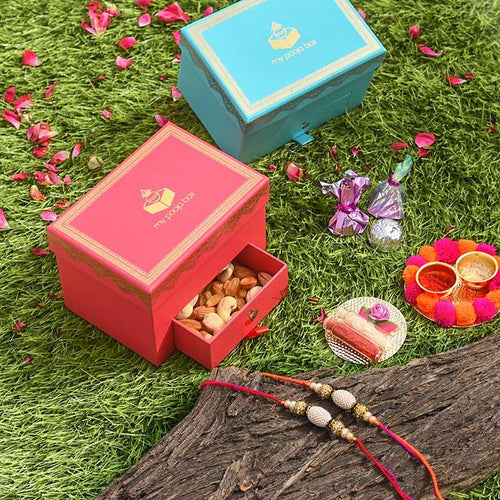 Alluring Rakhi Set of 2 Rakhi Box - Buy Designer Rakhi Online