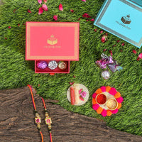 Hand Painted Rakhi Set of 2 Petite Rakhi Box