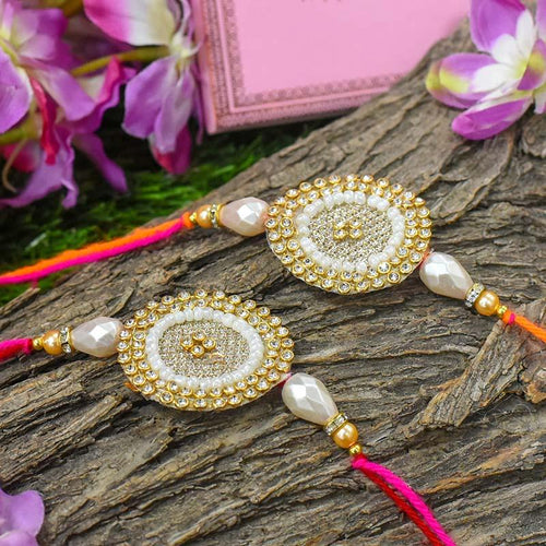 Fancy Sparkle Round Rakhi Set of 2
