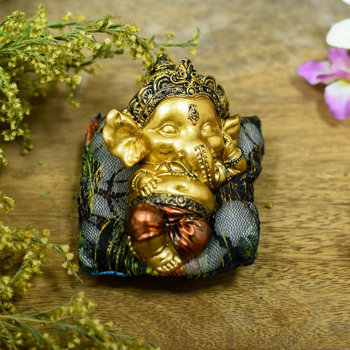 Cute Sleeping Ganesha On Cushion