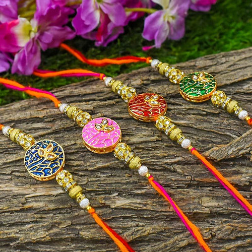 Traditional Bejewelled Rakhi (Set of 4)
