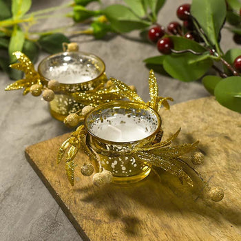 Shimmering Gold Beaded Candle Set