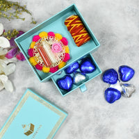 Mint Blue Bhai Dooj/Tika Box with Chocolates