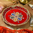 Velvet Red Decorated Pooja Thali