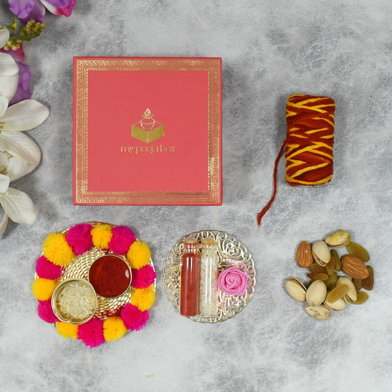 Rose Pink Bhai Dooj / Tika Petite Box with Dry Fruits