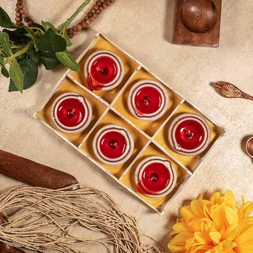 Red Gel Diya (Set of 6)