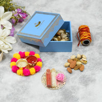 Blue Bhai Dooj / Tika Petite Box with Dry Fruits